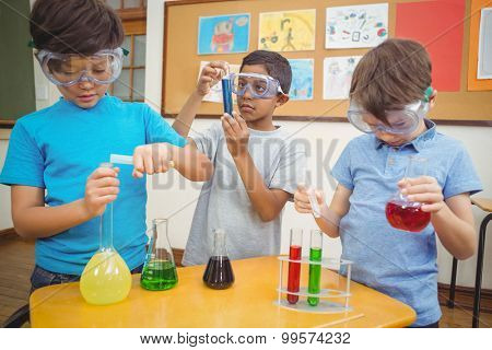 Pupils at science lesson in classroom at the elementary school