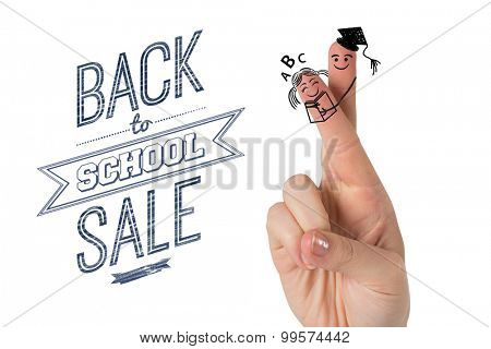 Fingers posed as students against back to school sale message