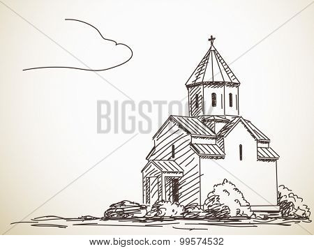 Sketch of Orthodox Church. Hand drawn illustration