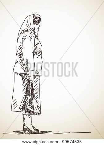 Sketch of standing woman in shawl Hand drawn illustration