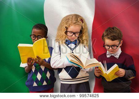 School kids against digitally generated italian national flag