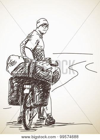 Sketch of long distance cyclist, Back view, Hand drawn illustration