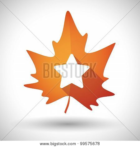 Autumn Leaf Icon With A Star