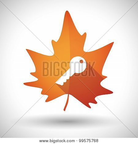 Autumn Leaf Icon With A Key