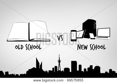 old school vs new school against grey vignette