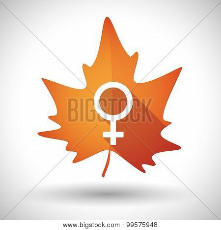 Autumn Leaf Icon With A Female Sign