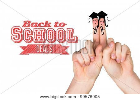 Fingers posed as students against back to school deals message