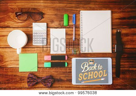 back to school against a differents objetcs for working