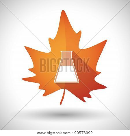 Autumn Leaf Icon With A Chemical Test Tube