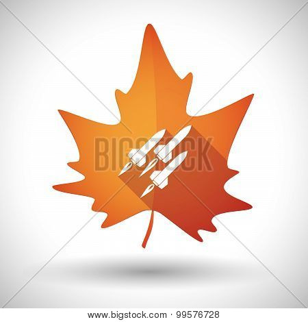 Autumn Leaf Icon With Missiles