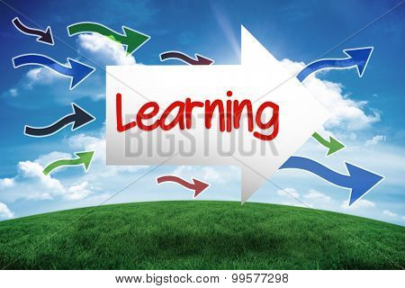 The word learning and arrow against green hill under blue sky