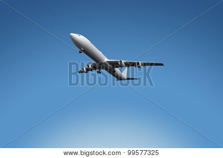 Graphic airplane against blue sky