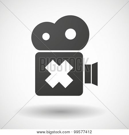 Cinema Camera Icon With An Irritating Substance Sign