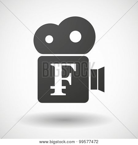 Cinema Camera Icon With A Swiss Franc Sign