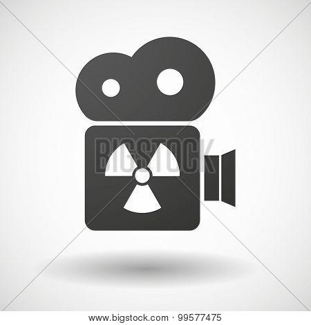 Cinema Camera Icon With A Radio Activity Sign
