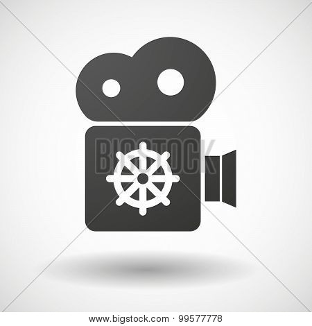Cinema Camera Icon With A Dharma Chakra Sign
