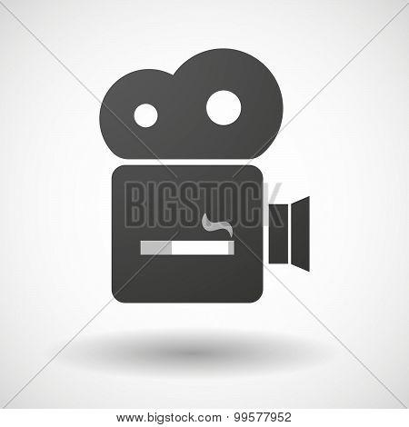 Cinema Camera Icon With A Cigarette