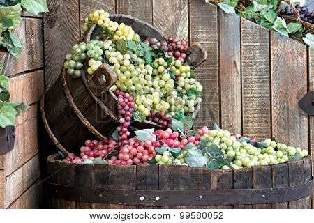 Display In A Winery Of Red And White Grapes
