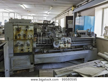 Old Industrial Equipment. Turning Lathes.