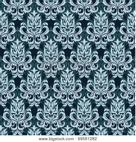 Damask blue pattern
