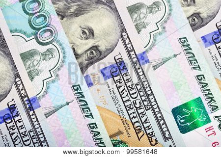 Dollars and ruble mix background