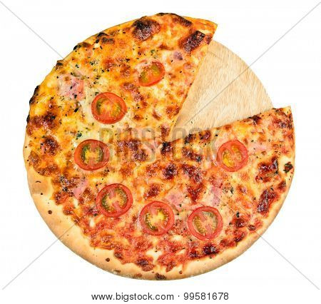 Home made pizza on board isolated