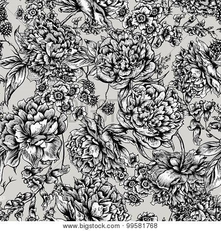 Floral Seamless Pattern with Peonies in Vintage Style