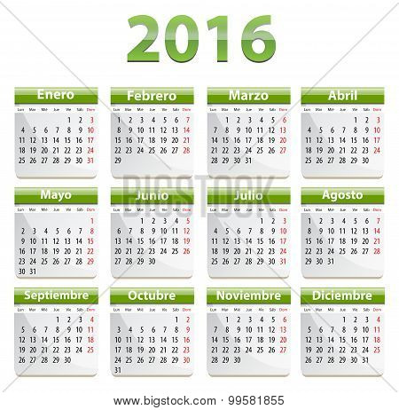 2016 Spanish Calendar