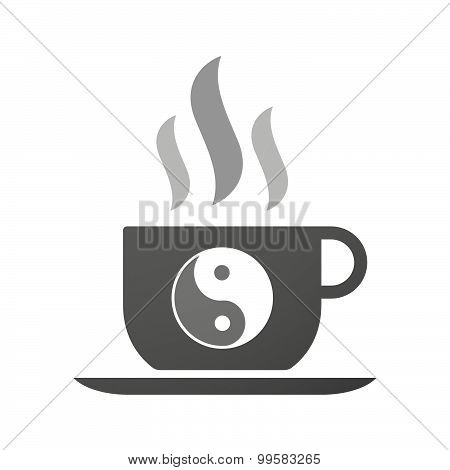 Cup Of Coffee Icon  With A Ying Yang