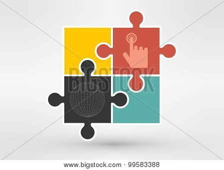 Puzzle with sphere.  Illustration for design on white background