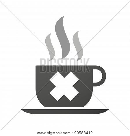 Cup Of Coffee Icon  With An Irritating Substance Sign