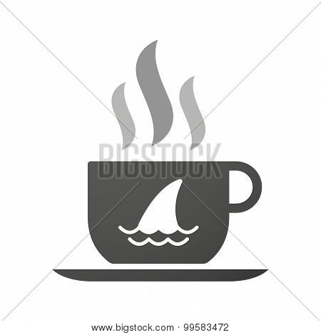 Cup Of Coffee Icon  With A Shark Fin