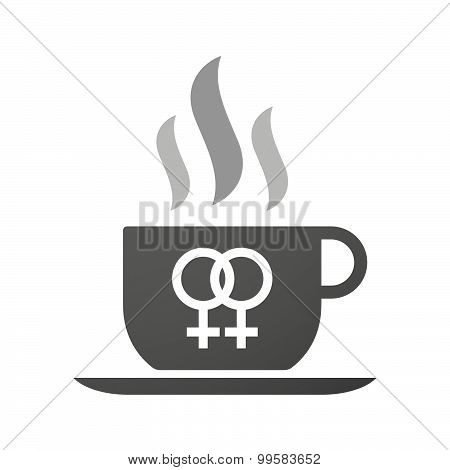 Cup Of Coffee Icon  With A Lesbian Sign