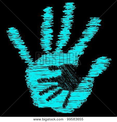 Concept or conceptual blue cute drawing paint hands of mother and child isolated on black background