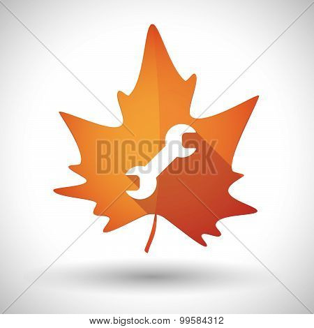 Autumn Leaf Icon With A Wrench