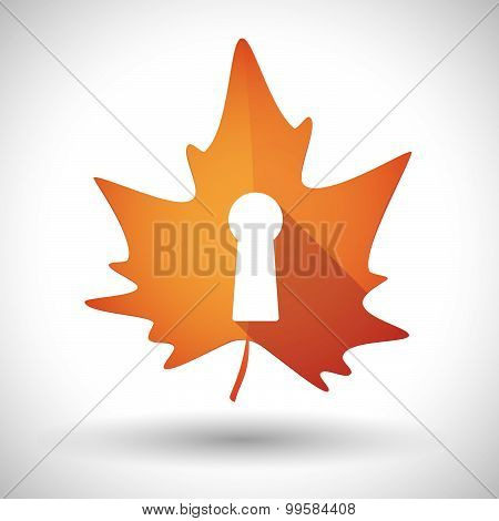 Autumn Leaf Icon With A Key Hole