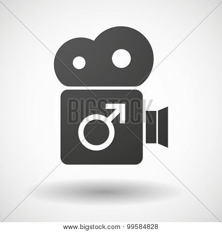 Cinema Camera Icon With A Male Sign