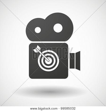 Cinema Camera Icon With A Dart Board