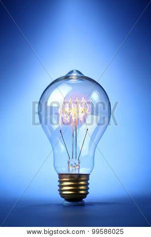Glowing vintage light bulb
