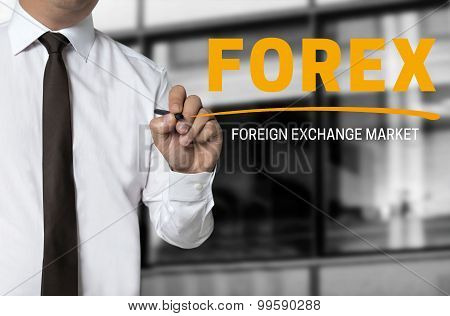 Forex Is Written By Businessman Background Concept
