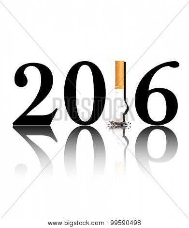 New Year's resolution Quit Smoking concept with the 1 in 2016 being replaced by a stubbed out cigarette.