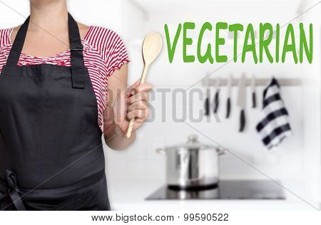 Vegetarian Chef Holding Wooden Spoon Background