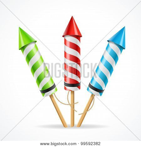 Fireworks rocket set. Vector