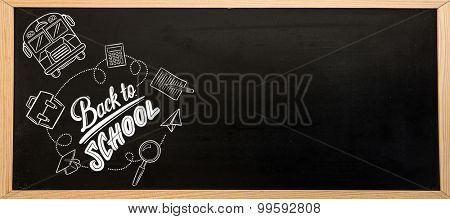 back to school against blackboard with copy space