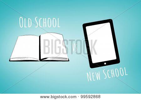 old school vs new school against blue vignette background
