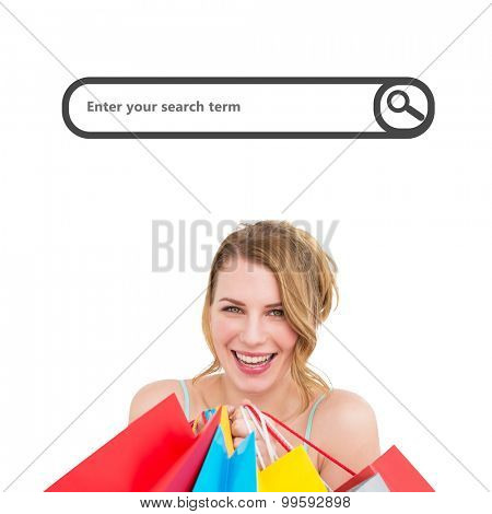 Portrait of a smiling woman with shopping bags against search engine