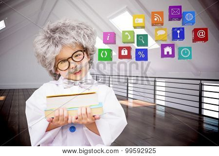 Dressed up pupil holding books against white room with floorboards