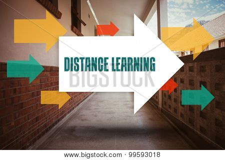 The word distance learning and arrows against empty hallway