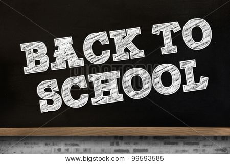 Back to school message against blackboard on wall