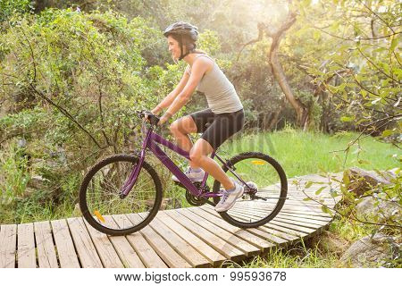 Athletic brunette mountain biking on wooden path in the nature